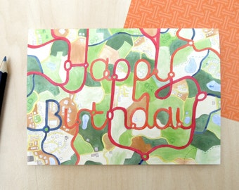 Road Map Birthday card