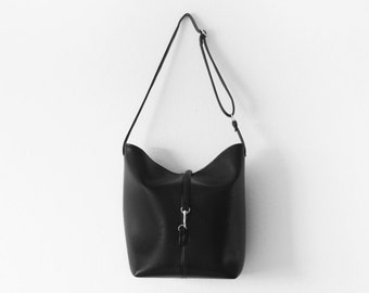 Black vegan leather bucket tote bag