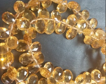 Citrine Faceted Pear Shape 7x9mm , Length of strand 8 Inch