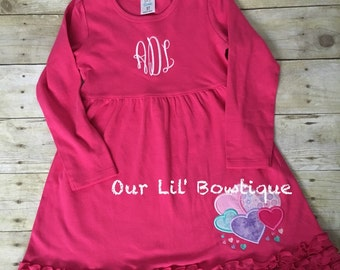 Valentine Heart Shirt - Girls Valentine Dress - Heart Shirt - Valentine Applique Dress - Valentine Applique Shirt - Heart - Monogram