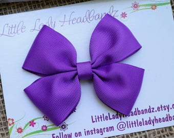 Purple Bow Boutique Bow purple hair bow girls ribbon bow large bow purple