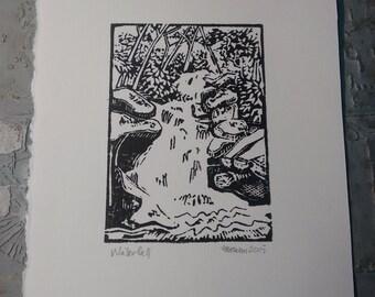 Waterfall Block Print