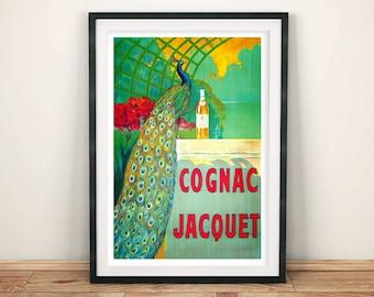 COGNAC JACQUET POSTER: Vintage French Brandy Advert, Green Art Print