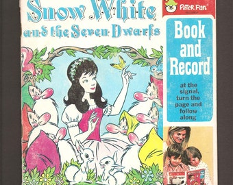 Snow White and the Seven Dwarfs - Vintage 45 RPM Peter Pan Illustrated Read-Along LP Book and Record Set #1941
