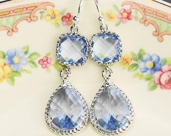 Light Blue Earrings - Silver Blue Dangle Earrings - Blue Bridesmaid Earrings - Glass Drop Earrings  Wedding Jewelry - Bridesmaid  Jewelry