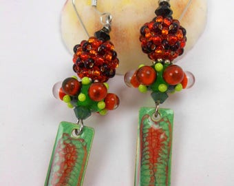Handmade lampwork bead earrings, ooak lampwork earrings, artisan dangle earrings, colorful earrings