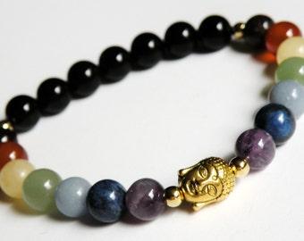 Buddha Chakra Bracelet with Natural Gemstones unisex gold stretch bracelet *FREE SHIPPING USA* 314.5B