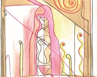 """Digital Serigraph Limited to 10 copies signed by the artist. Title: """"The Scarlet Priestess""""-Measures 48 x 33 cm"""