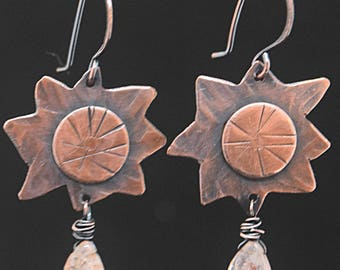 Copper Sun Earrings with Wire Wrapped Sunstone