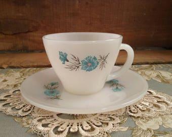 Vintage Fire King Bonnie Blue Thistle Cup & Saucer Set