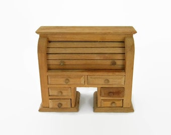 Miniature Roll Top Desk Solid Wood Dollhouse Furniture Library Desk
