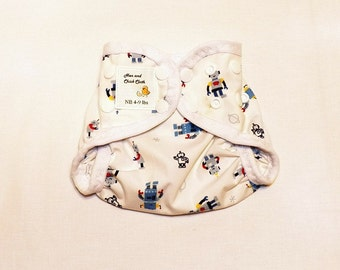 Preemie Newborn PUL Diaper Cover with Leg Gussets- 4 to 9 pounds- Robots on White- 20019
