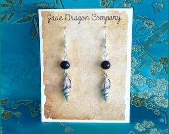 Handmade Silver Plated Sea Shell and Freshwater Tahitian Pearl Earrings