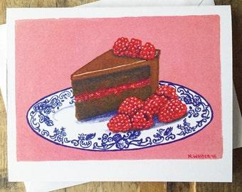 Greeting Card Blank Inside - Chocolate Raspberry Cake Painting