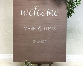 Wedding sign welcome Braun Holz wedding personalized plate
