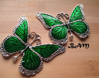 Large silver green enameled Butterfly connector pendant