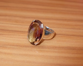 Gorgeous, Large, Faceted, Ametrine Ring. Size US8