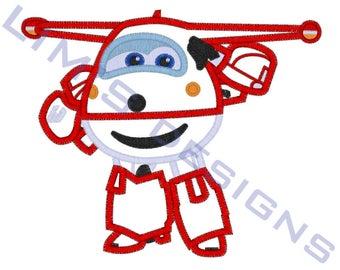 "Super Wings - Jett - applique machine embroidery design - 3 sizes 4x4"", 5x7"", 6x10"""
