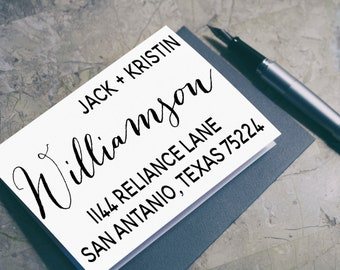 Return Address Stamp Wedding, Custom Personalized Return Address Stamp - 3D