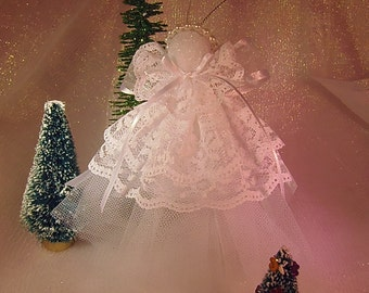 Lace Angel Christmas Ornament White three tiered Lace also nice get well gift guardian Angel