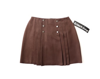 PLEATED MOD Mini Skirt Military Brown 90s MINIMALIST 1990s A-Line Schoolgirl Kinderwhore Soft Grunge Aesthetic Ye-ye Small Medium