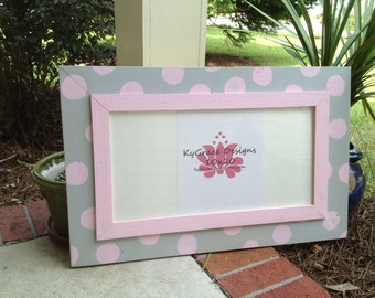 10x20 handmade picture frame with polka dots