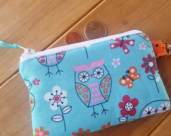 Owl Coin Purse, Girls Zipper Wallet, Change Purse, Earbud Pouch, Lunch money Pouch, Coin Purse with Name, credit card pouch