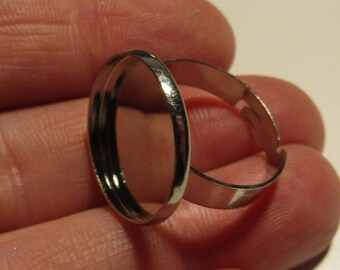 ring holder, silver ring, for cabochon 18mm