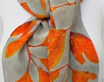 silk crepe scarf Autumn Sunllight hand painted morgansilk scarves grey orange yellow crepe long unique wearable art women
