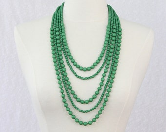 Multi Strand Beads Necklace Statement Necklace Multi Layered Beaded Long Necklace Chunky Necklace Fresh Green