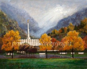 Provo Temple - Autumn - Canvas - Print - 8 x 10-SUPER SALE ITEM