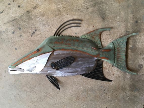Hogfish Metal Wall  sculpture 25in long Tropical Beach Coastal  Art Fish