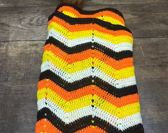 Vintage Afghan Blanket Throw Orange Brown Goldenrod Retro