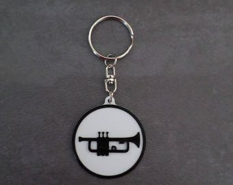"""Trumpet"" printed in 3D, black and white keychain"