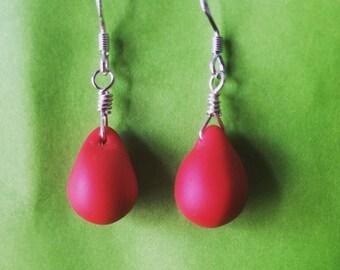 Matte Red Teardrop Earrings