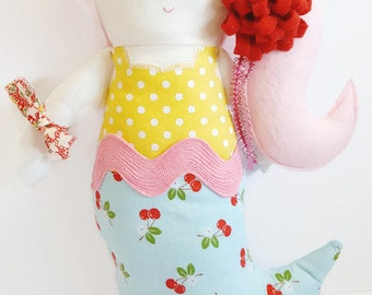 Mermaid Doll Handmade | Mermaids | Nursery Decor | Cherries | Birthday Present| Mermaid Toy| Girl Doll | Plush Doll | Beach Toy | Girl Gift