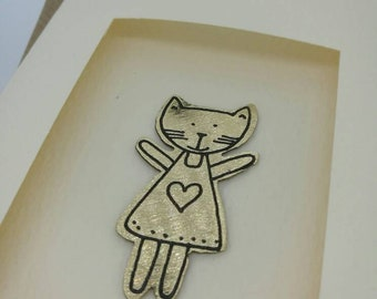 Crazy Cat Lady handmade greetings card with cute metal motif by Sharon McSwiney.