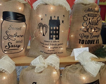 Burlap Print, Burlap Bag, Personalized Burlap, Burlap Lights, Burlap Bag Lights, Burlap, Deer, Fleur De Lis, Rustic, Burlap Monogram