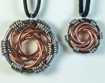Copper and Stainless Steel Maillestrom Pendant