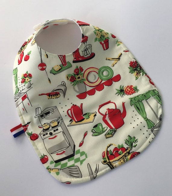 Extra large adjustable baby and toddler bib with retro 50's kitchen print. Hand made out of soft cotton, waffle cotton and colour snaps.