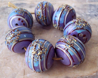 Lavender fields. Handmade Hollow Lampwork Beads (1 pc) Lavender, Turquoise, Raku, Red and Silvered Ivory Lines. Made to order.