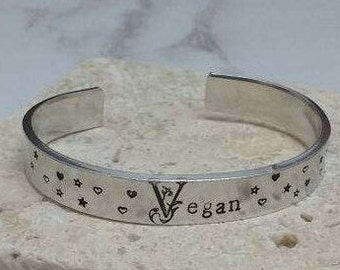 Vegan pretty floral font stars and hearts 12mm cuff bracelet, handstamped