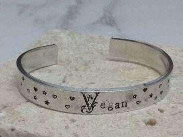 Vegan pretty floral font stars and hearts 12mm cuff bracelet, handstamped