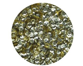 6mm Cup Sequins Facet Paillettes Gold Semi Matte