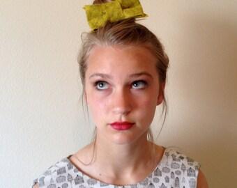 Hair Bow Clip Womens Accessory Barrette Yellow/Green