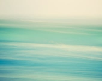 "Ocean Print, Abstract Art Prints, Waves, Water, Beach Art, Minimalist Modern Wall Decor, Green Blue Bathroom Art, Nature Photography ""Swish"""