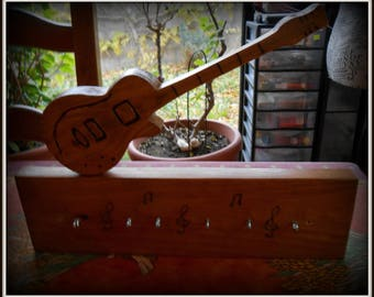 Wall key 6 ties handmade wood tree and varnish
