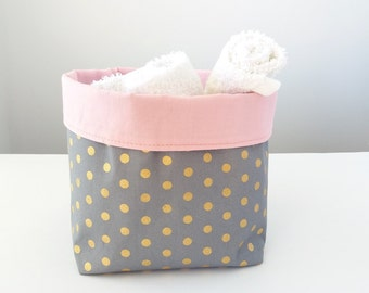 Nursery storage basket, Nappy caddy, Baby girl nursery, Pink grey gold, Nappies storage, Change table organizer Babyshower gift Diaper caddy