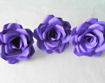 3 x Dark Purple Roses, Handmade Paper Flowers, Table Decorations, Wedding Flowers, Anniversary Gift x 3 Flowers
