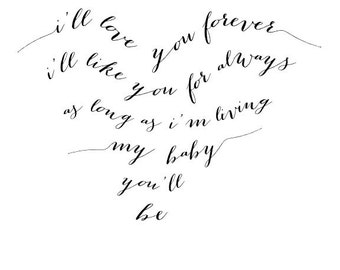 I'll Love You Forever typography print | black and white | heart | 8x10 | digital download | printable